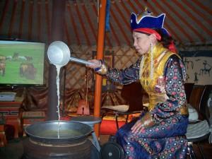 Mongolischer Teezeremonie